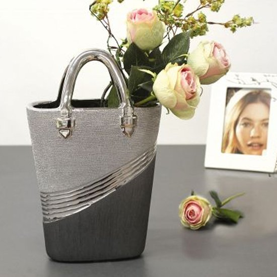 Bridgetown Ceramic Handbag Vase In Silver And Grey