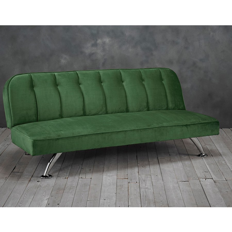 Brighton Velvet Upholstered Sofa Bed In Green