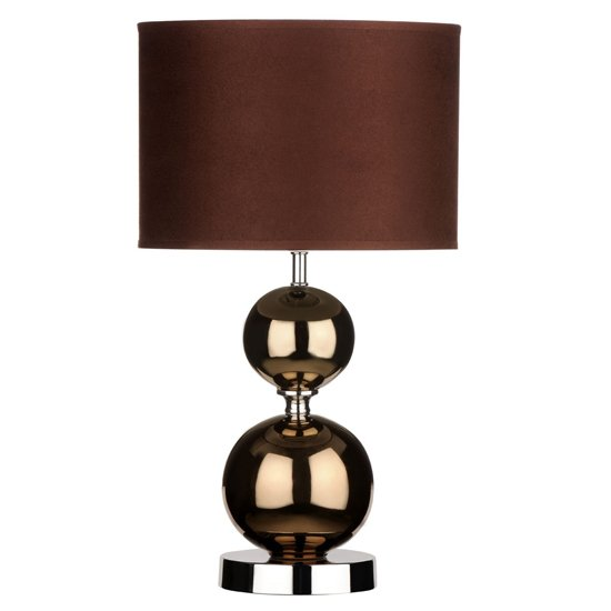 Brika Brown Fabric Shade Table Lamp With Copper Balls Base