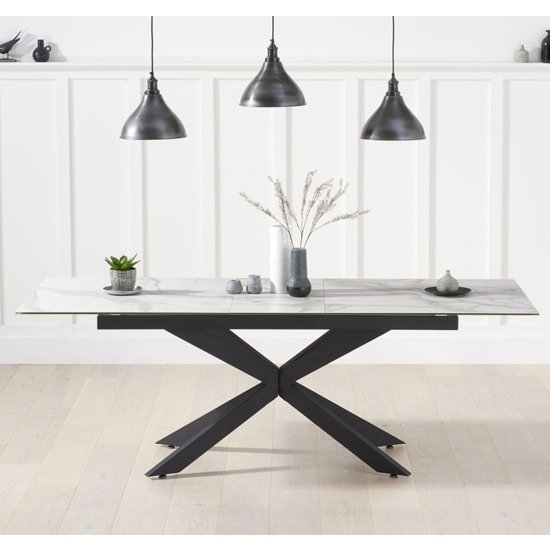 Brilly Extending Glass Ceramic Dining Table In White