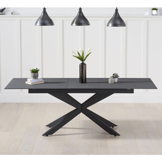 Brilly Extending Glass Dining Table In Grey Stone Effect