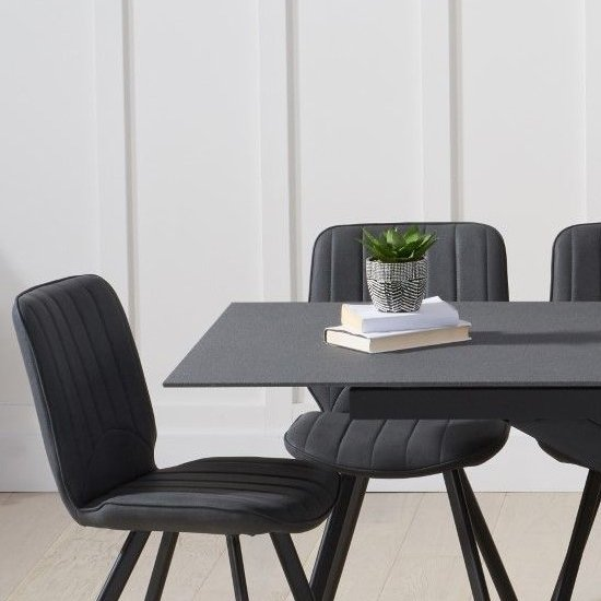 Brilly Extending Grey Effect Glass Dining Table 6 Grey Chairs_2