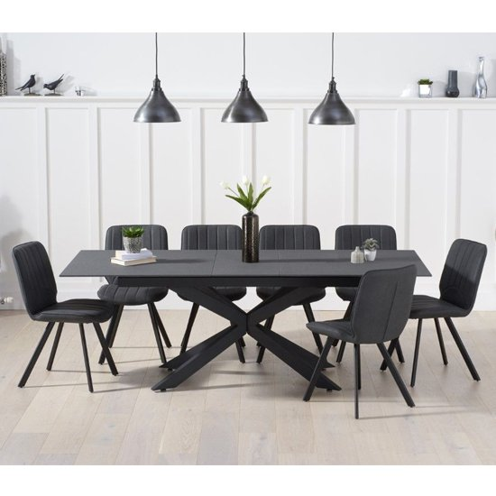 Brilly Extending Grey Effect Glass Dining Table 8 Grey Chairs