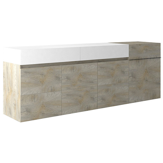View Brio sideboard in matt white and natural with 4 doors 2 drawers