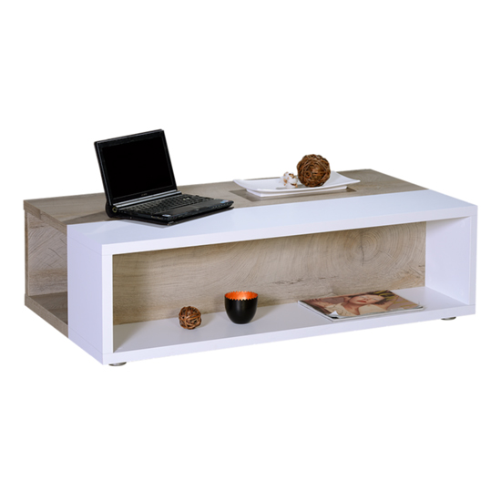 View Brio wooden coffee table in matt white and natural