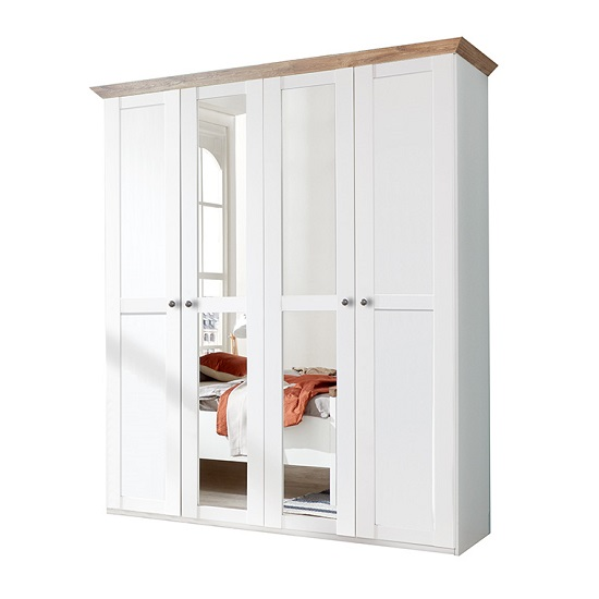 Brisa Mirror Wardrobe In Alpine White And Planked Oak Effect