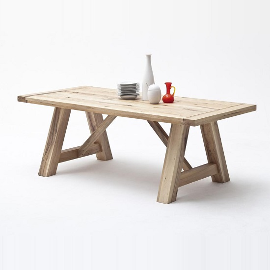 Bristol Wooden Dining Table In Solid Wild Oak In 260cm