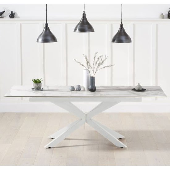 Brilly Ceramic And Glass Top Extending Dining Table In White