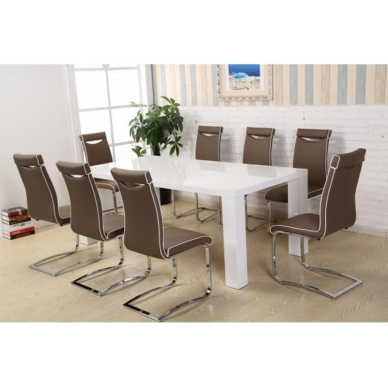 Brittany Dining Table In White High Gloss With 8 Dining Chairs