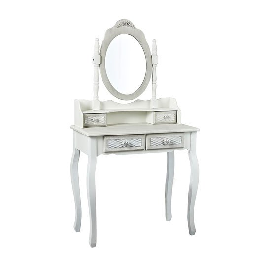 Brittany Dressing Table In White And Grey With Mirror