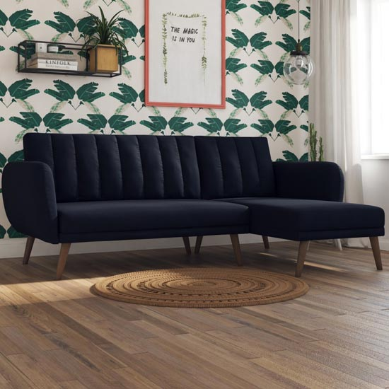 Product photograph showing Brittany Linen Sectional Sofa Bed In Navy Blue With Wooden Legs