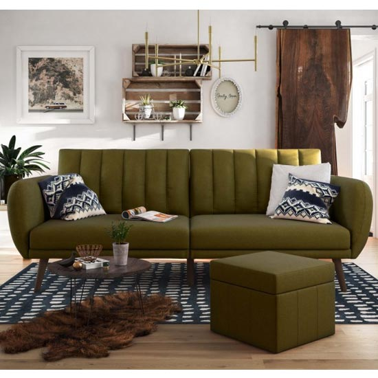 Brittany Linen Sofa Bed In Green With Wooden Legs