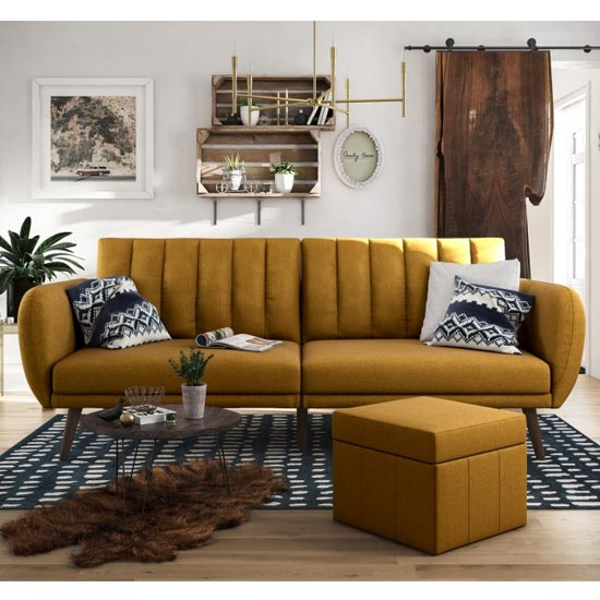 Brittany Linen Sofa Bed In Mustard With Wooden Legs_1