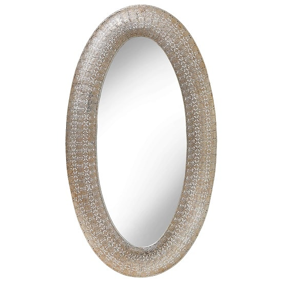 Brittany Wall Mirror Oval In Champagne Mesh Motifs