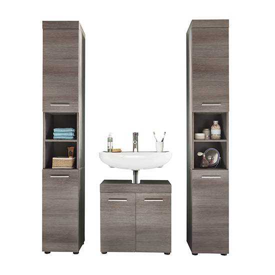 Britton Bathroom Furniture Set 2 In Sardegna Smoky Silver
