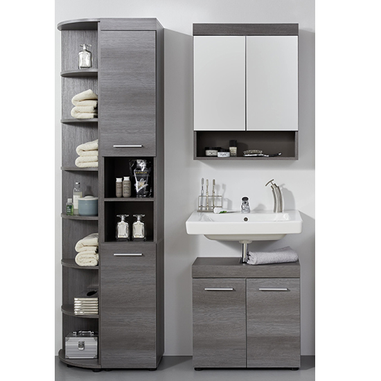 Britton LED Bathroom Furniture Set 10 In Sardegna Smoky Silver