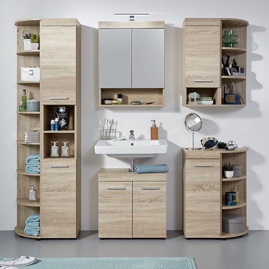 Britton LED Bathroom Furniture Set 6 In Sagerau Light Oak