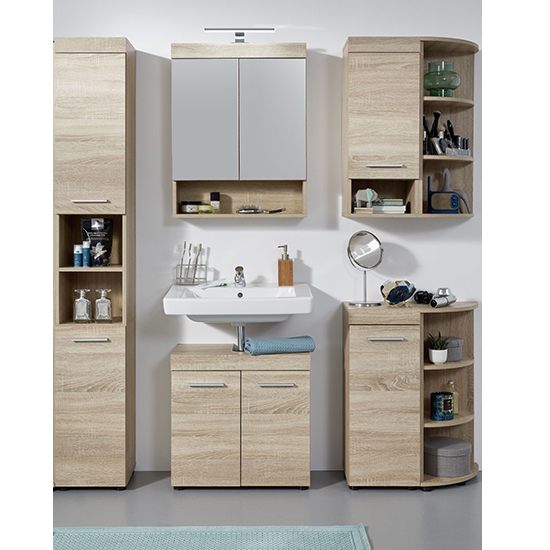 Britton LED Bathroom Furniture Set 8 In Sagerau Light Oak