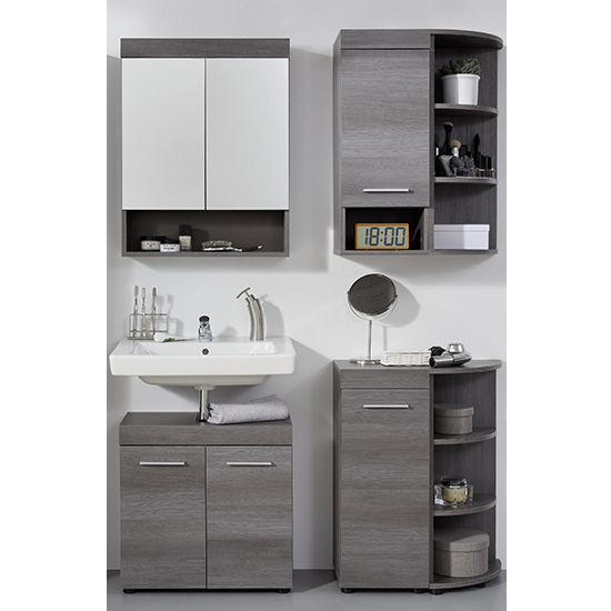 Britton LED Bathroom Furniture Set 9 In Sardegna Smoky Silver