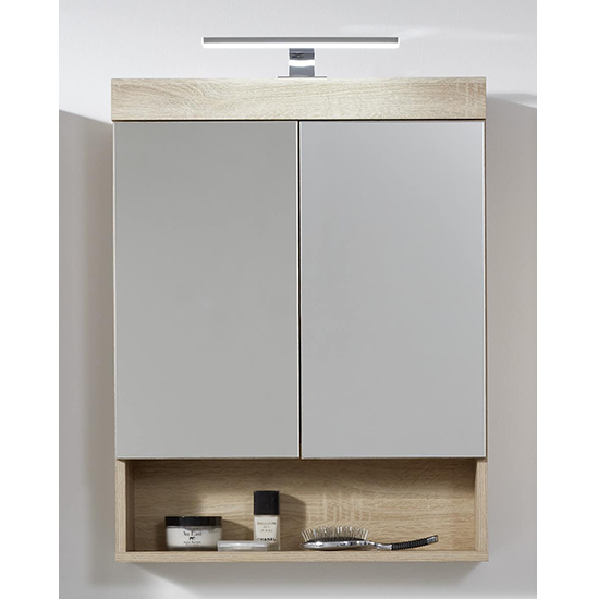 Britton LED Bathroom Mirrored Cabinet In Sagerau Light Oak