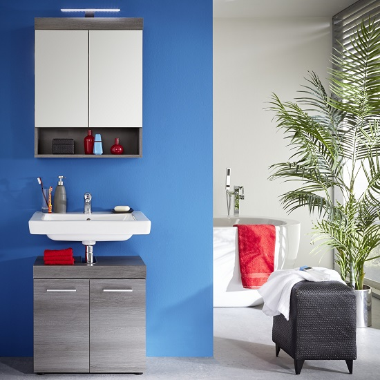 Britton Bathroom Furniture Set In Sardegna Smoke Silver With LED_2