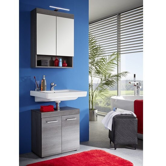 Britton Bathroom Furniture Set In Sardegna Smoke Silver With LED