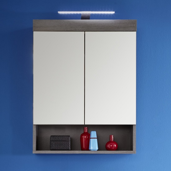 Britton Wall Mount Mirror Cabinet In Sardegna Smoke Silver LED_2