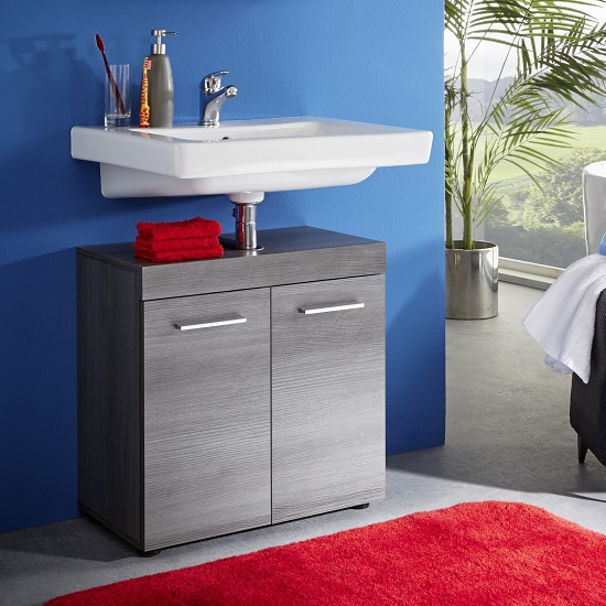 Britton Vanity Cabinet In Sardegna Smoke Silver With 2 Doors