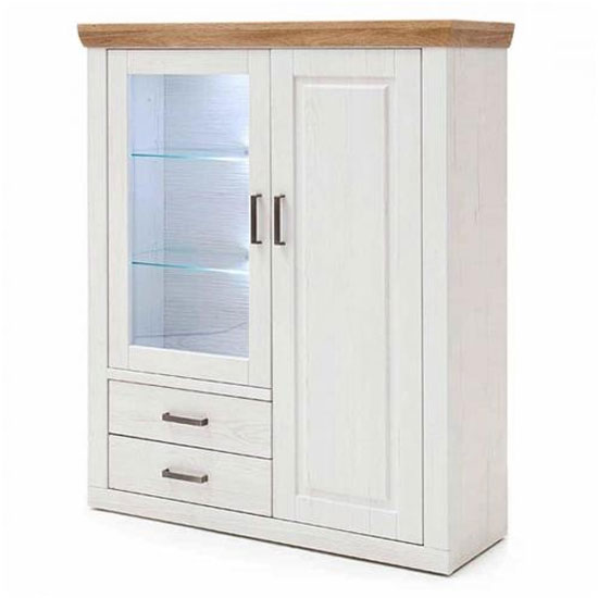 Brixen LED Highboard In Oak And White With 2 Doors 2 Drawers