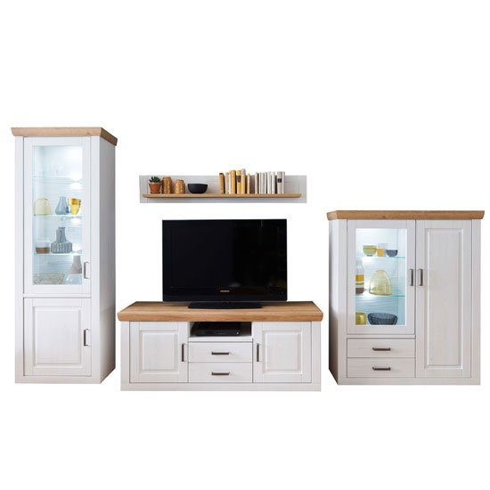 Brixen LED Living Room Set In Oak And White With Highboard_2