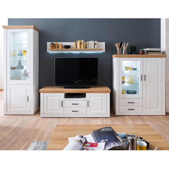 Brixen LED Living Room Set In Oak And White With Highboard