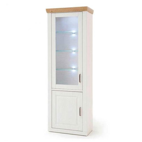 Brixen LED Wooden Display Cabinet In Oak And White With 2 Doors