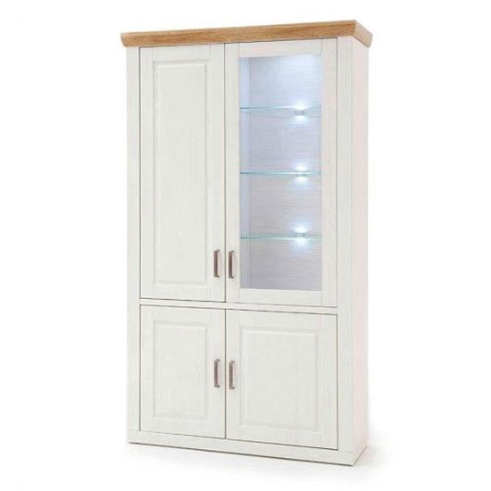 Brixen LED Wooden Display Cabinet In Oak And White With 4 Doors