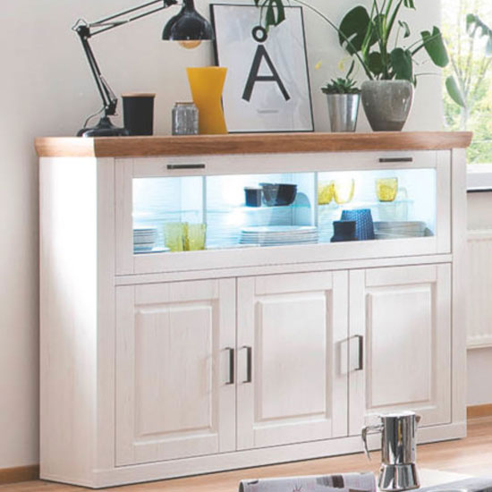Brixen LED Wooden Highboard In Oak And White With 3 Doors