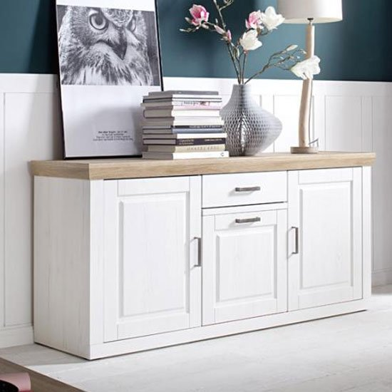 Brixen Wooden 3 Doors Sideboard In Oak And White With 1 Drawer