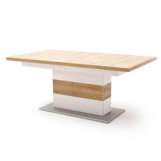 Brixen Wooden Extending Dining Table In Oak And White