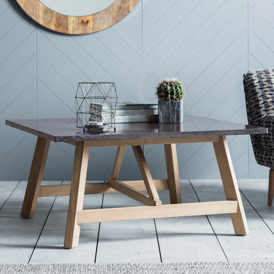 Brixton Burnished Coffee Table With Marble Top