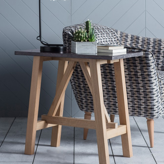 Brixton Burnished Side Table With Marble Top