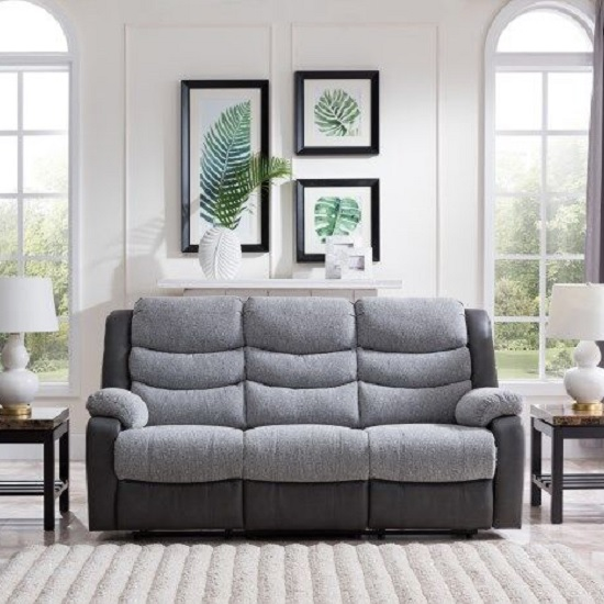 Brixton Recliner 3 Seater Sofa In Grey PU And Fabric