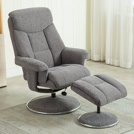 Brixton Fabric Swivel Recliner Chair With Footstool In Grey_2