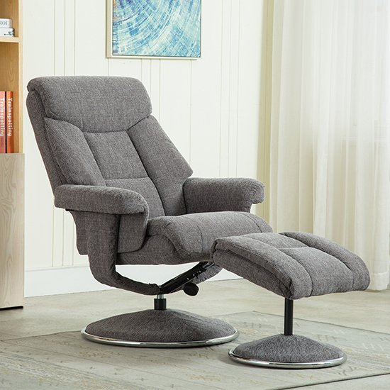 Brixton Fabric Swivel Recliner Chair With Footstool In Grey_4
