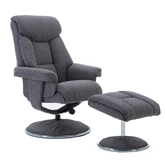 Brixton Fabric Swivel Recliner Chair With Footstool In Grey_8