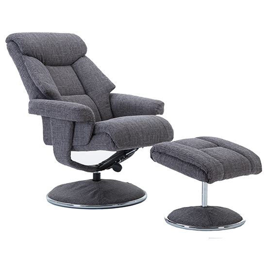 Brixton Fabric Swivel Recliner Chair With Footstool In Grey_10