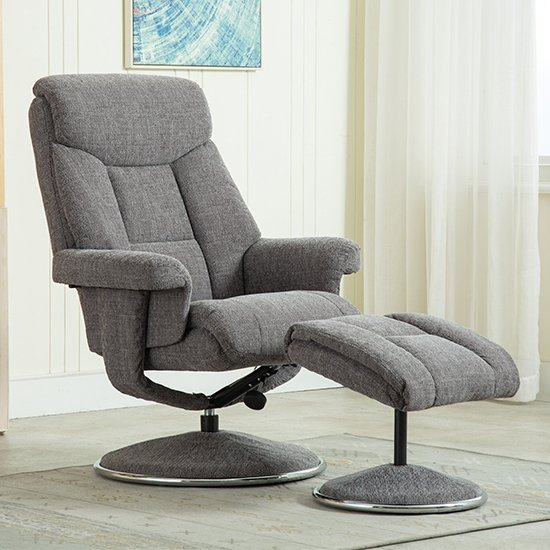 Brixton Fabric Swivel Recliner Chair With Footstool In Grey