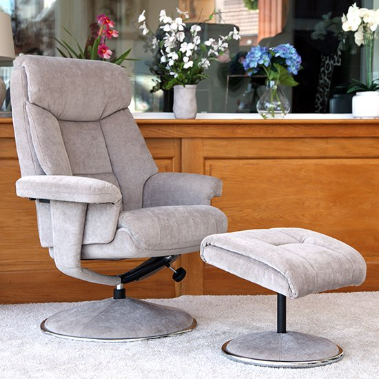 Brixton Fabric Swivel Recliner Chair With Footstool In Mist