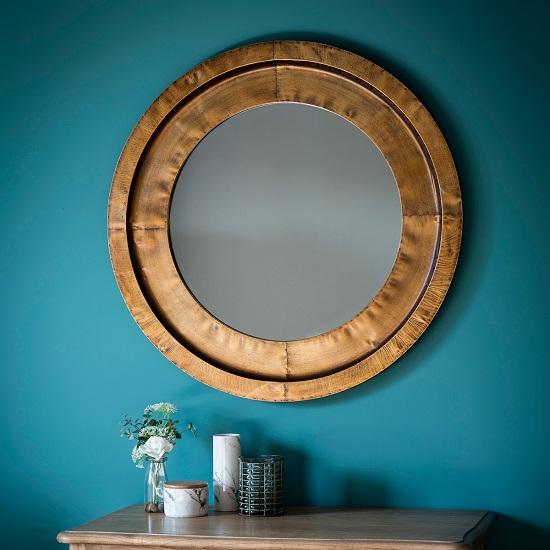 Brogan Decorative Wall Mirror Round In Gold