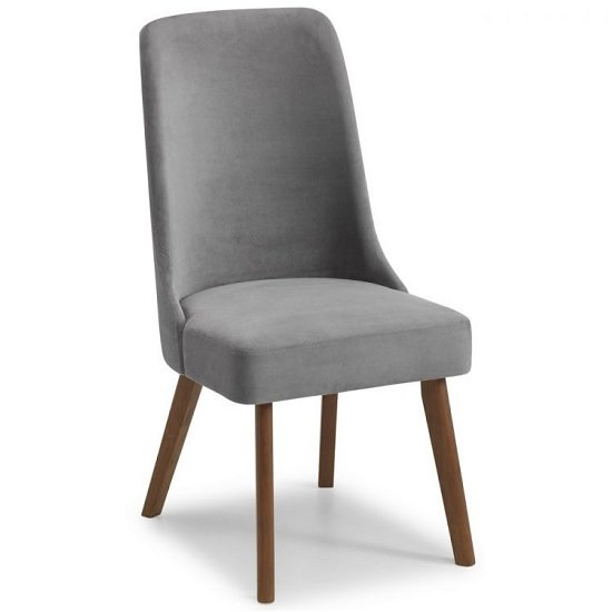 Bromley Dining Chair In Grey Velvet With Walnut Legs