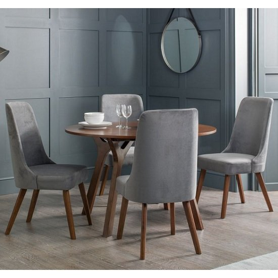 Bromley Wooden Dining Table Round In Walnut With 4 Grey Chairs