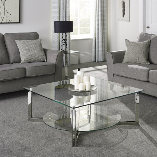 Bromley Glass Coffee Table With Polished Stainless Steel Base