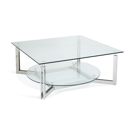 Bromley Glass Coffee Table With Polished Stainless Steel Base_5